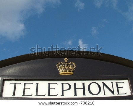 Black London telephone box.