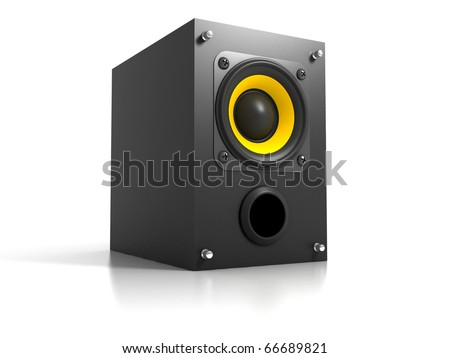 Black Loud Speaker Isolated on White