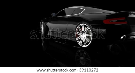 Black luxury dream sports car / sportscar in studio isolated on black with reflection and copy space
