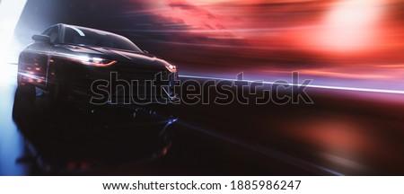 Black luxury sedan car speeding (non-existent car design, full generic) - 3d illustration, 3d render