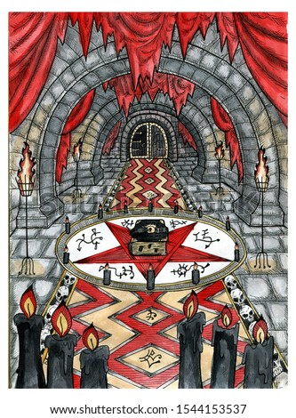 Black magic book in pentagram circle with candles in castle dungeon. Graphic engraved illustration. Fantasy and mystic drawing. Gothic, occult and esoteric background with spiritual symbols