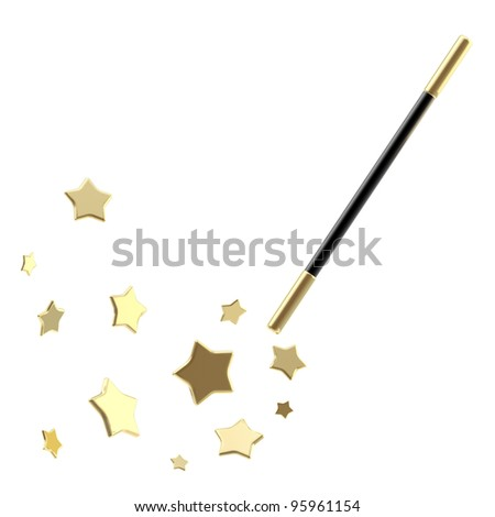 Black magic wand casting shiny golden stars isolated