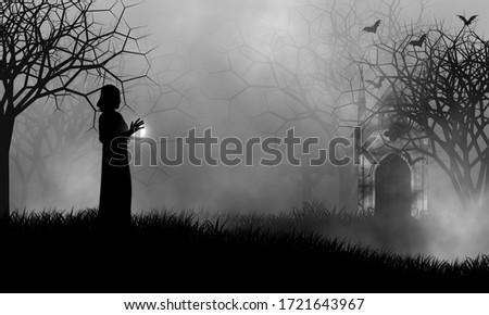 Black magic woman and her power ball in an old mysterious cemetery with some bats came out from mausoleum. Foto stock ©