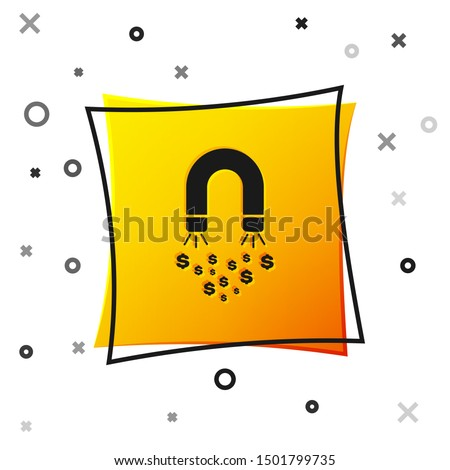 Black Magnet with money icon isolated on white background. Concept of attracting investments, money. Big business profit attraction and success. Yellow square button