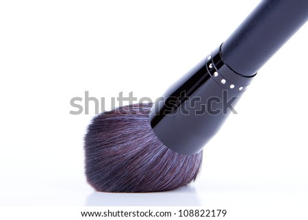 black make-up brushes on white background