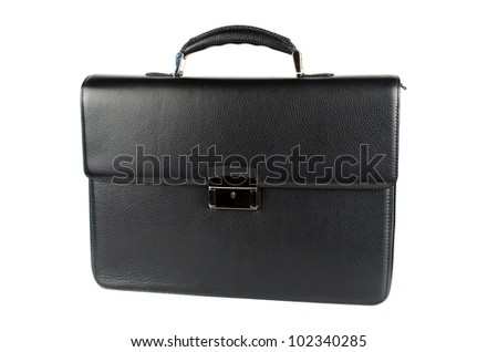 black male briefcase isolated on white background