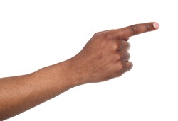 Black male hand point finger. Hand gestures - man pointing on virtual object with forefinger, isolated on white background