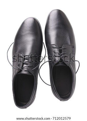 Black male shoes upper view isolated on white.Pair  men's footwear. #712012579