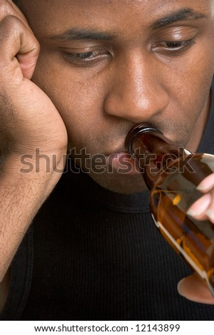 Black Man Drinking Beer