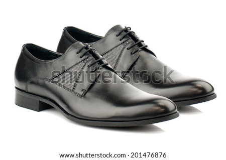 Black man leather shoe with shoelace on white background.