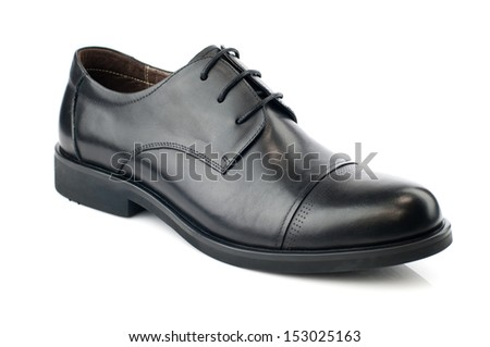 Black man leather shoe with shoelaces on white background