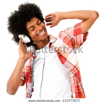 Black man listening to music with headphones - isolated over a white background - stock photo