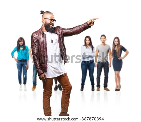 black man pointing to the space #367870394