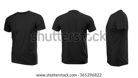 Black man s T-shirt with short sleeves with rear and side view on a white 2a95f0c2f14
