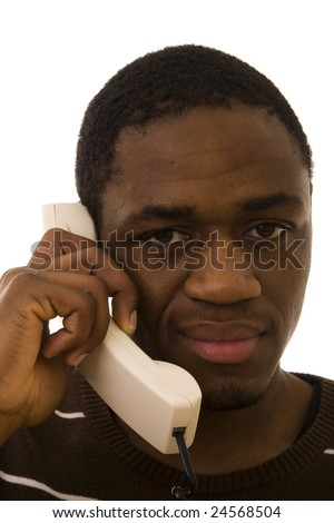 Black man with a funny expression on phone