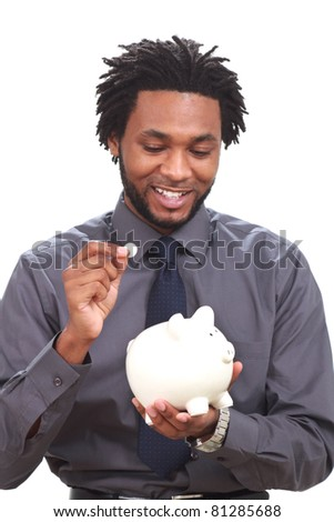 Black man with a piggy bank