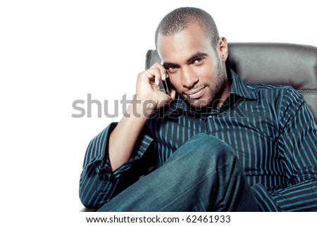 Black man with mobile phone