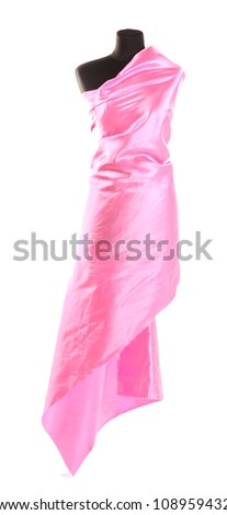 black mannequin with silk cloth isolated on white