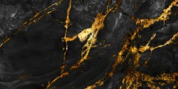 black marble with golden veins ,Black marbel natural pattern for background, abstract black white and gold, black and yellow marble, hi gloss marble stone texture of digital wall tiles design.