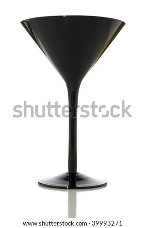 Black martini glass isolated on white with clipping path