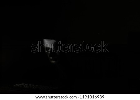 Stock Photo Black mask in the dark secretive ritual and mystery