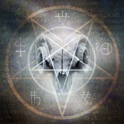 Black mass montage of occult goat skull overlaid with a Satanic pentagram materialising against a grunge texture background of alchemy symbols.