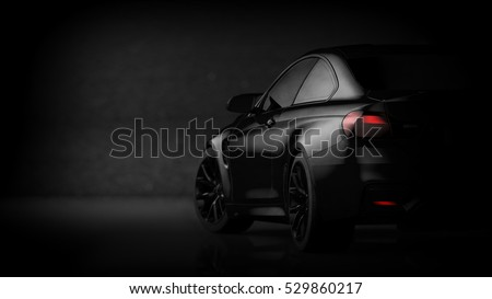Black matte sports car (with grunge overlay) - 3d illustration