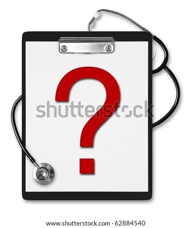 Black medical Clipboard with a Stethoscope and red question mark