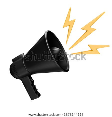 Black megaphone with yellow rays on white background. Concept Megaphone for graphic composition. 3D illustration, 3D art.