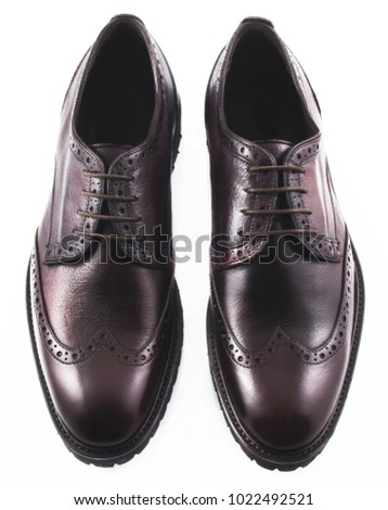 Black men's leather shoes isolated on white background #1022492521