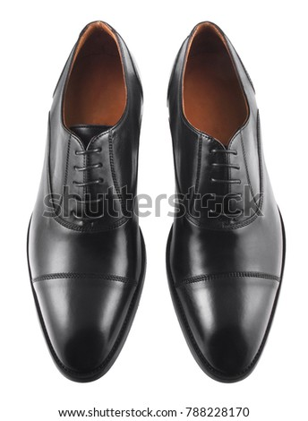 Black men's leather shoes isolated on white background #788228170