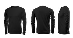 Black men's T-shirt with long sleeves with rear and side views on a white background