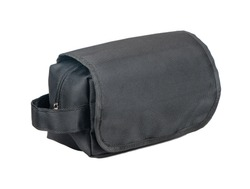 Black mens cosmetic bag isolated on white background