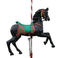 Black merry-go-round horse