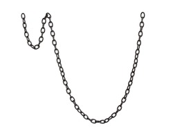 Black metal chain on white background