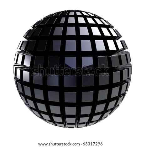 Black metal 3d sphere