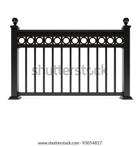 Black metal design railing with circle
