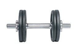black metal dumbbell for fitness with chrome silver handle isolated on white background.