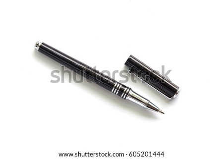 Black metal pen isolated on white background. #605201444