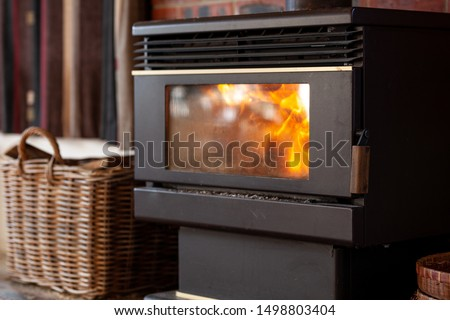 black metal stove fireplace with a burning flame behind a glass door in the interior #1498803404