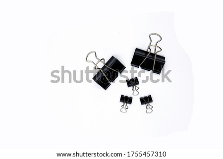 Black metallic binder clips for office use. Stainless steel binder clips, quality binder clips. Everyday use. Binder clips for school.