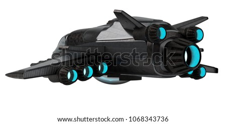 Black mettalic futuristic spacecraft isolated on white background 3D rendering