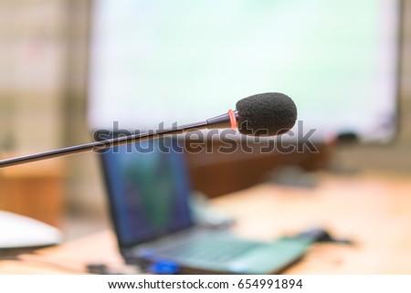 black microphone in conference...
