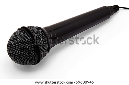 black microphone on a white background
