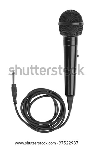 Black microphone with a cord on white background - stock photo