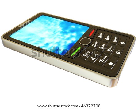 black mobile on white background