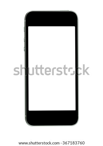 Black mobile phone isolated on white background