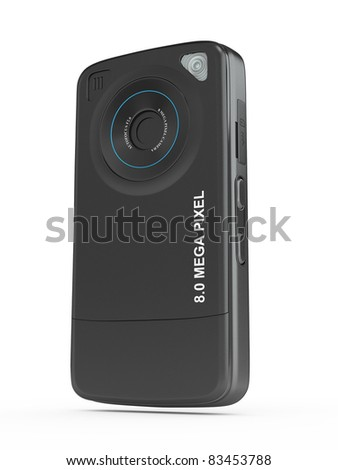 Black mobile phone with camera on white isolated background. 3d