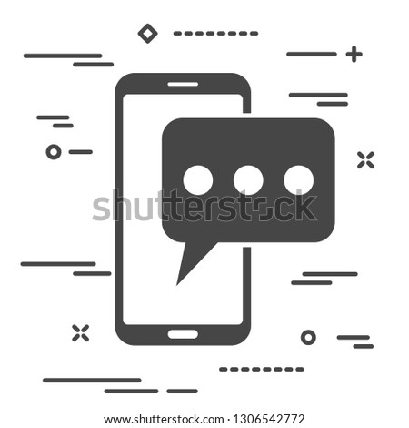 black mobile phone with chat message notifications. smartphone and chatting bubble speeches. Text messaging flat design concept.
