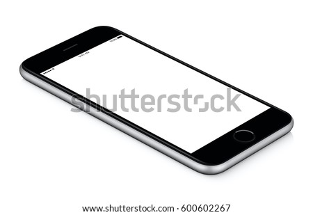 Black mobile smart phone mockup CCW rotated lies on the surface with blank screen isolated on white background. You can use this smartphone mock-up for your web project or design presentation.